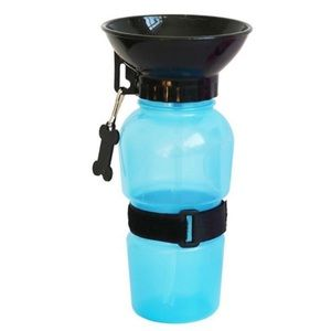 New! Blue Portable Dog Water Bottle with Bowl